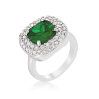 Micropave Green Bridal Cocktail Ring, size : 07