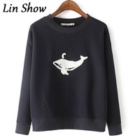 Fashion Spring Autumn Women Sweatshirt Tops Cotton And Linen Blue Whale Embroidery O Neck Pullovers Hoodies Casual Sweatshirts