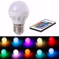 16 Color Changing LED Light Bulb with Remote Control Dimmable RGBW Multicolor LED Light 85-265V/ E27/ 3W