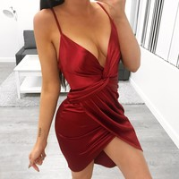 Marilyn Silk Dress (Wine)