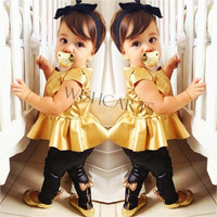 High Quality NEW Baby Girl Suit Shirt Dress + Leggings Pants Casual Short Sleeved 2 Pieces SV006880 = 1645833348