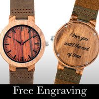 Engraved Watch, Wood Watch, Engraved Wood Watch, Wooden Watch, Red Face, Personalized Gift, Christmas, Gifts For Him