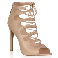 Laila Nude Lace Up Heel Sandals