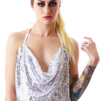 Pink Lipstick Jersey Wow! Sequin Drape Top Set Silver