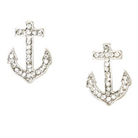 Anchor Rhinestone Button Earring | Shop Jewelry at Wet Seal