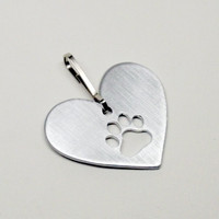 Metal Pet Id Dog Collar Clip or Keychain Cutout of Paw Print in Heart Dog Accessory- Free Shipping