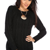 Black Cable Knitted Long Sleeve Sweater