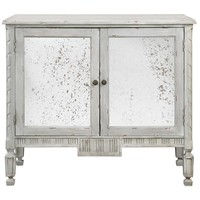 Okorie Antiqued Mirror Console Cabinet Warm Distressed Blue / Gray