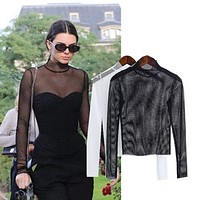 Sexy shirt T-shirt female new long-sleeved black and white shirt top