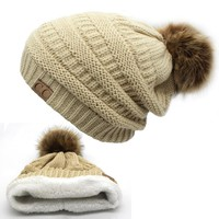2017 hot Double layer fur ball cap pom poms winter hat for women girls hat knitted beanies cap thick female cap