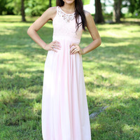 Lost in Lace Maxi - Blush