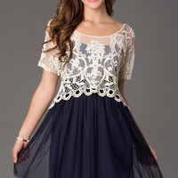 Short Spaghetti Strap Dress with Sheer Lace Overlay Top