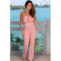 Mauve Jumpsuit with Ruffled Top