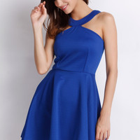 Halter Backless Strappy Mini Skater Dress