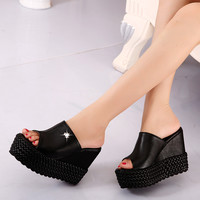 size 31-39 women high heels sandals platform sandals female wedges shoes slippers sy-1801