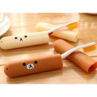 2PCS New Kawaii Rilakkuma Portable Toothbrush Box Travelling Anti-Microbial Box Accessories for Bathroom KCS