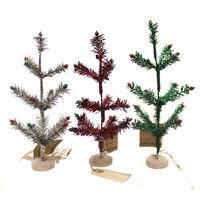 Christmas TINY TINSEL TREE Synthetic Red Green Silver St/3 14104 #