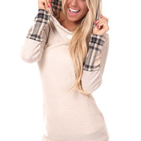 Beige Plaid Accent Hoodie and Cuff Tunic