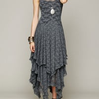 Gray Sleeveless Lace Layered Asymmetric Ruffled Maxi Dress