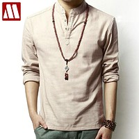 Summer Ventilated Linen Casual Men Shirt Long Sleeve Solid O-Neck Collar Loose Leisure Shirts Men Clothes Fashion Clothing