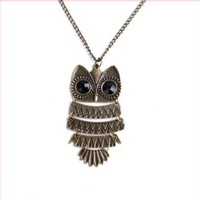 """Acczilla Lovely Nickel Plated Textured Owl Pendant With 25"""" Chain"""