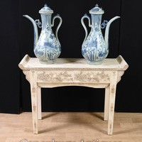 Canonbury - Pair Chinese Blue and White Porcelain Jugs - Nanking Pottery Urns