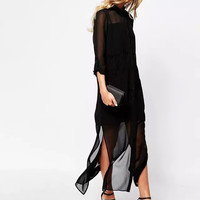 Casual Chiffon And Mesh Asymmetrical Slit Button Down Maxi Dress