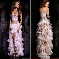 Hot Sale Elegant A Line Sweetheart Lace-up Heavy Ruffles Crystals High Low Cocktail Dresses 2016 robe de cocktail SD066-P