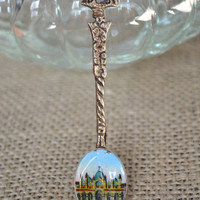 Vintage Souvenir Spoon,  Mosque Illustration, 1960s Enamel Painted,  Silver Travel Collector Spoon, Made in Italy