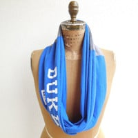 Duke T Shirt Infinity Scarf / Royal Blue / Gray / Blue Devils / Recycled / Upcycled / Winter / Cotton / Soft / Gift Under 50 / ohzie