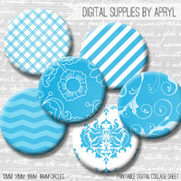 Bright Blue and White Digital Collage Sheet 18mm 16mm 14mm 12mm Circle Round on 4x6 and 8.5x11 Sheets for Earrings Pendants Cuff Links Image