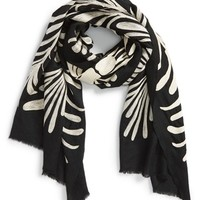 Women's Tory Burch 'Symphony' Embroidered Scarf - Black