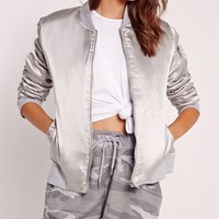 Missguided - Satin Bomber Jacket Metallic Grey