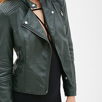 Quilted Faux Leather Moto Jacket