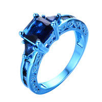 Princess Cut Blue Sapphire Wedding Rings For Women Vintage Blue Gold Filled Zircon Female Engagement Ring RC0043