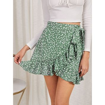 SHEIN Wrap Tie Side Heart Print Skirt
