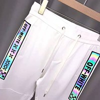 Off White Fashion New Reflective Letter Print Sports Leisure Women Men Pants White
