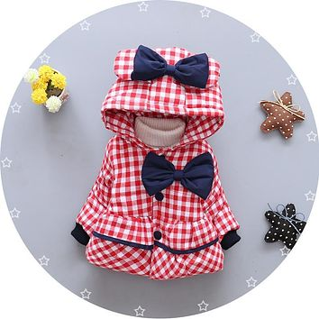 Warm Winter Baby Girls Hooded Plaid Bow Thick Snow Wear Outerwear Coat Kids Parkas casaco