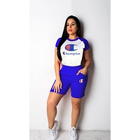 Champion New Fashion Women Casual Print Short Sleeve Top Shorts Sport Set Two Piece Blue