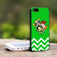 Powerpuff Girls Chevron - For iPhone 4,4S Black Case Cover