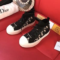 Dior new presbyopia letter flat lace-up sneakers shoes