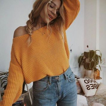 Fashion Womens Boat Neck Solid Color Knit Sweaters