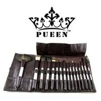 PUEEN 16 Piece Luxury Makeup Brush Set in Vegan Leather Case - High Quality Natural Hair Bristles