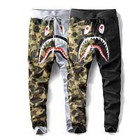 Bape Aape New fashion shark tiger print camouflage couple pants trousers
