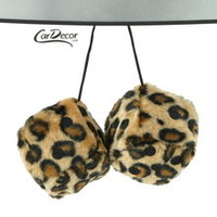 Leopard Tan Fuzzy Car Dice 3 inches Car Decoration