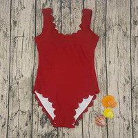 1017 Sexy Swimsuit Scallop Edging Red