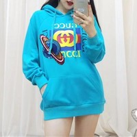 """Gucci"" Women Casual Fashion Letter Print  Pattern Sequin Long Sleeve Hooded Sweater Tops"