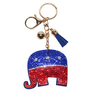 Republican Elephant Key Chain for Women Purse Charm Backpack Charm