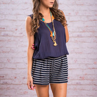Ride The Waves Romper, Navy