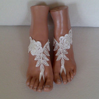 Free rush ship ivory beaded Beach bridal shoe wedding accessory barefoot sandals shoes prom party bangle beach anklets bridal bride